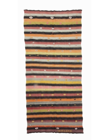 "Striped Colorful Vintage Kilim Rug - 5`1"" x 10`11"""
