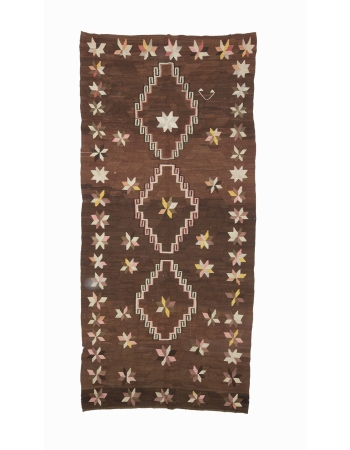 "Brown Vintage Unique Kilim Rug - 4`11"" x 10`4"""