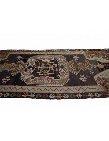 """Handwoven Vintage Turkish Kars Kilim Rug - 5`5"""" x 13`9"""""""
