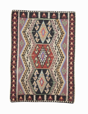 "Vintage Handwoven Turkish Kilim Rug - 4`7"" x 6`3"""