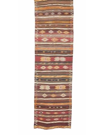 """Handwoven Vintage Turkish Kilim Runner - 3`9"""" x 13`5"""""""