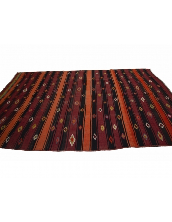 "Red & Orange Vintage Kilim Rug - 6`6"" x 11`10"""