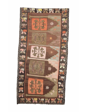 "Vintage Unique Decorative Turkish Kilim Rug - 6`1"" x 12`0"""