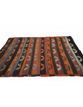 "Orange & Brown Vintage Turkish Kilim Rug - 6`2"" x 10`4"""