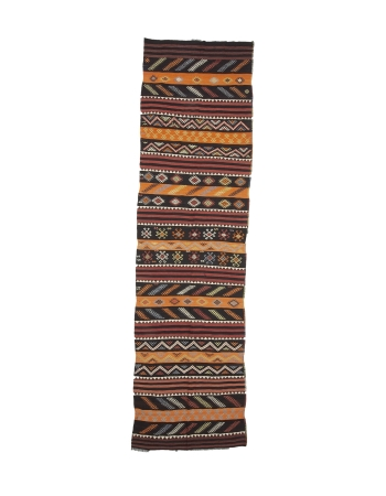 "Vintage Decorative Turkish Kilim Runner Rug - 3`6"" x 12`8"""