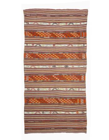 """Vintage Embroidered Turkish Kilim Rug - 5`9"""" x 12`8"""""""