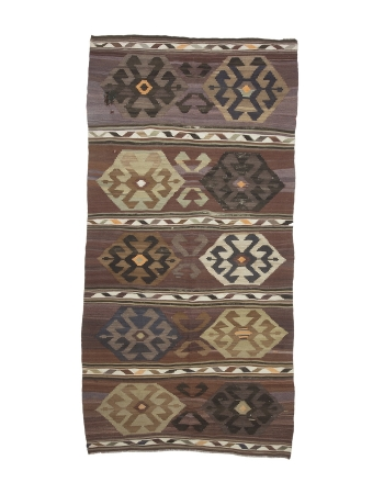 "Decorative Unique Vintage Kilim Rug - 6`4"" x 12`4"""