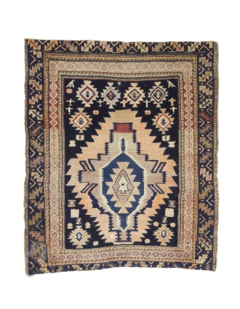 "Antique Decorative Caucasian Rug - 3`10"" x 4`6"""