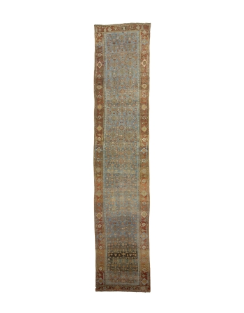 "Antique Washed Out Rust & Blue Runner  - 3`5"" x 16`6"""