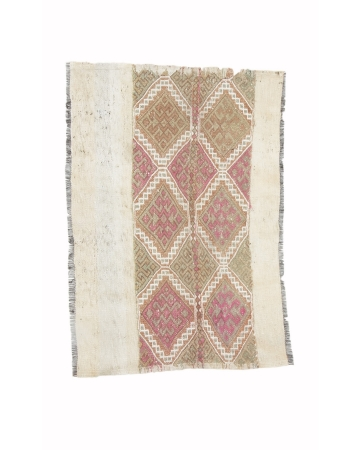 "Embroidered Vintage Small Kilim Rug - 2`10"" x 4`2"""