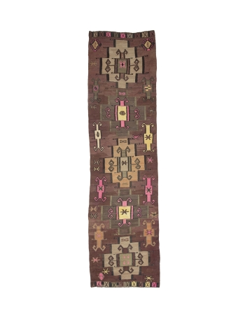 "Vintage Decorative Wide Kilim Runner - 3`8"" x 13`5"""