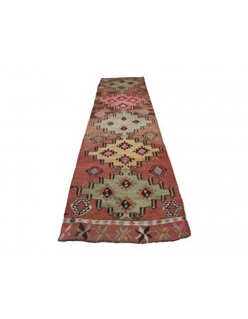 "Vintage Decorative Turkish Kilim Runner Rug - 3`1"" x 11`10"""