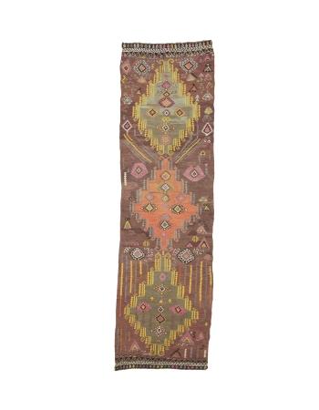 "Decorative Vintage Turkish Kilim Runner - 3`3"" x 11`0"""