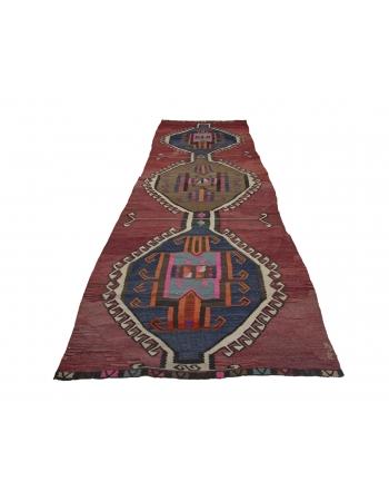 """Vintage Decorative Turkish Kilim Rug - 4`7"""" x 15`3"""""""