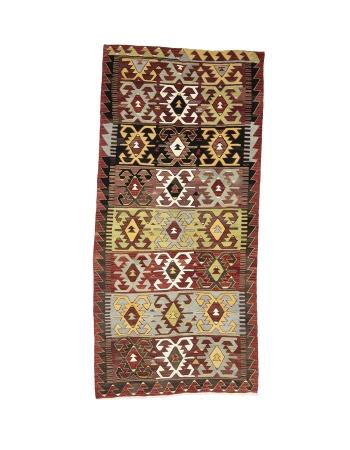 "Vintage Turkish Konya Kilim Rug - 5`3"" x 11`4"""