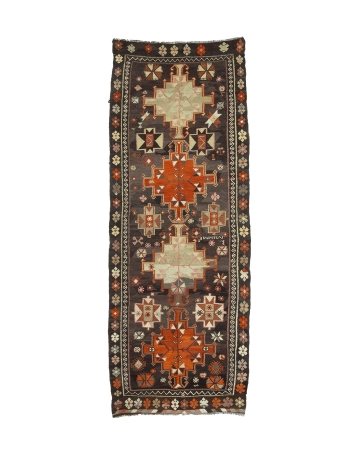 "Decorative Vintage Turkish Kilim Rug - 4`2"" x 10`10"""