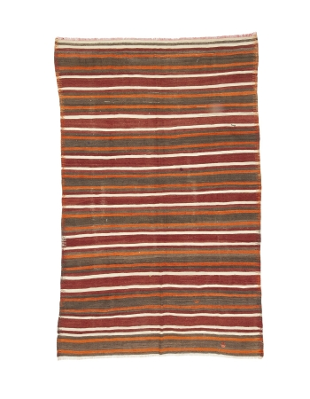 "Striped Vintage Turkish Kilim Rug - 5`8"" x 8`11"""