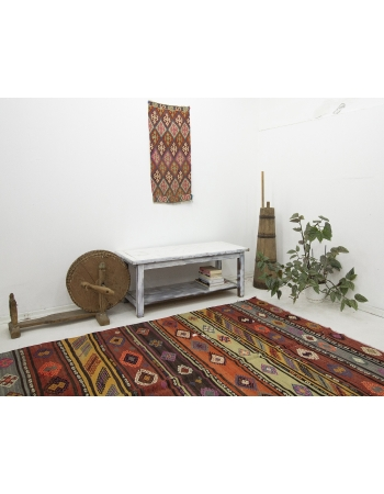 "Embroidered Vintage Decorative Kilim Rug - 6`8"" x 12`0"""