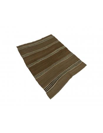 "Vintage Brown Small Kilim Rug - 3`2"" x 4`2"""