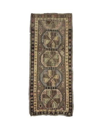 """Vintage Turkish Kars Kilim Rug - 4`11"""" x 11`11"""""""