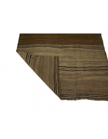"Small Brown Vintage Turkish Kilim Rug - 3`2"" x 5`0"""