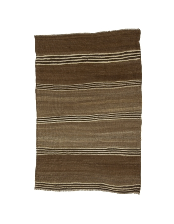 "Brown Vintage Striped Small Kilim Rug - 3`1"" x 4`9"""