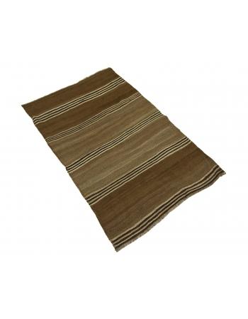 """Brown Vintage Striped Small Kilim Rug - 3`1"""" x 4`9"""""""