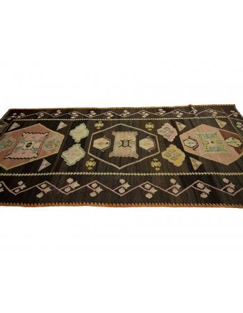 """Vintage Decorative Turkish Kilim Rug - 4`9"""" x 11`4"""""""