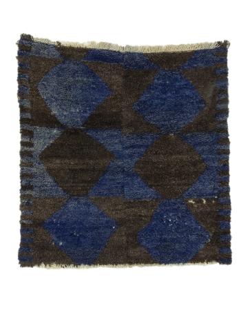 "Blue & Dark Gray Vintage Tulu Rug - 3`5"" x 3`7"""