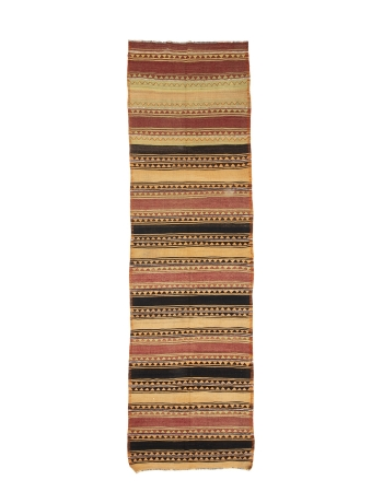 "Vintage Wide Turkish Kilim Runner - 4`2"" x 14`9"""