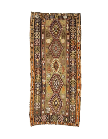 "Decorative Vintage Turkish Kilim Rug - 5`4"" x 11`8"""