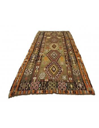 """Decorative Vintage Turkish Kilim Rug - 5`4"""" x 11`8"""""""