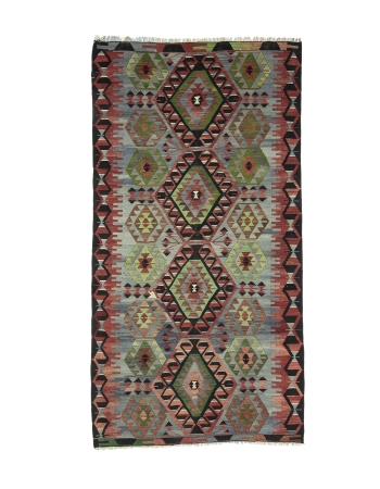 "Vintage Turkish Decorative Kilim Rug - 5`1"" x 9`8"""