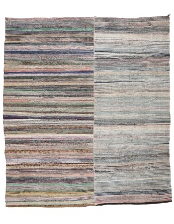 "Large Vintage Striped Turkish Rag Rug - 9`8"" x 11`2"""