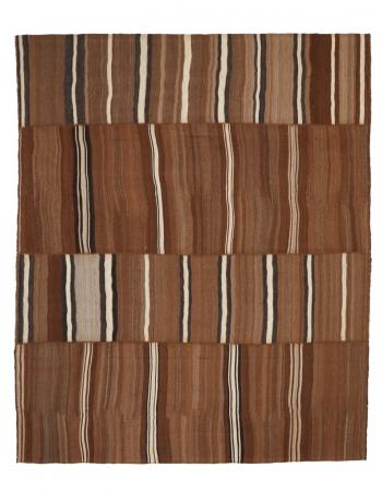 """Brown & Ivory Vintage Kilim Rug - 9`10"""" x 11`8"""""""