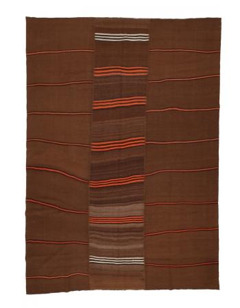 "Brown & Orange Large Kilim Rug - 8`4"" x 11`3"""
