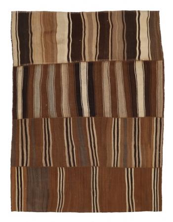 """Large Striped Brown Vintage Kilim Rug - 7`6"""" x 10`0"""""""