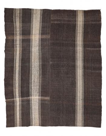 """Large Vintage Brown Kilim Rug - 9`10"""" x 11`10"""""""