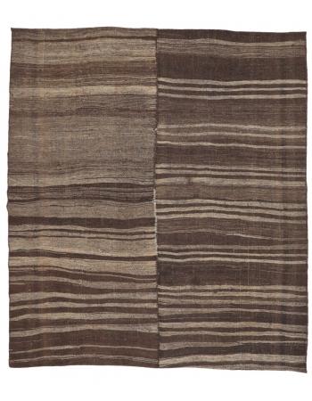 """Brown Large Vintage Kilim Rug - 7`8"""" x 8`8"""""""