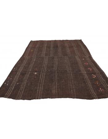 """Brown Vintage Large Kilim Rug - 7`10"""" x 9`3"""""""