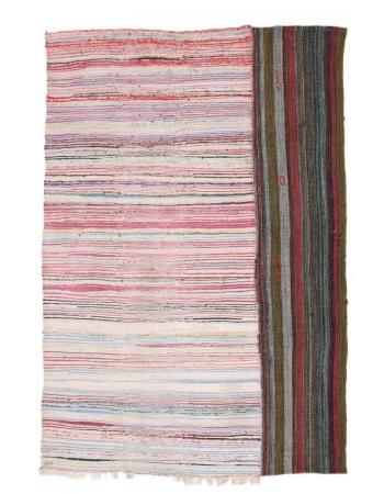 "Unique Colorful Vintage Turkish Rag Rug - 7`3"" x 9`10"""