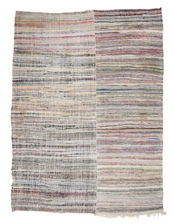 """Large Striped Vintage Rag Rug - 10`4"""" x 13`7"""""""