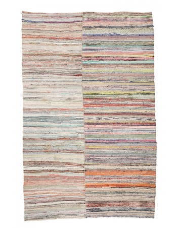 "Striped Colorful Vintage Kilim Rug - 9`2"" x 12`6"""