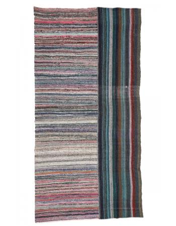 "Unique Striped Vintage Rag Rug - 7`6"" x 14`11"""