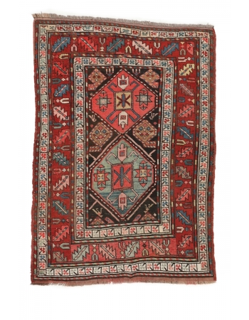 "Antique Decorative Caucasian Wool Rug - 3`7"" x 4`11"""