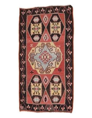 """Handmade Vintage Turkish Kilim Rug - 5`4"""" x 10`2"""""""