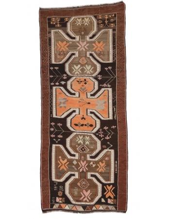 "Vintage Decorative Turkish Kars Kilim Rug - 5`5"" x 12`0"""