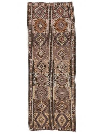 "Decorative Vintage Brown Kars Kilim Rug - 4`3"" x 11`7"""