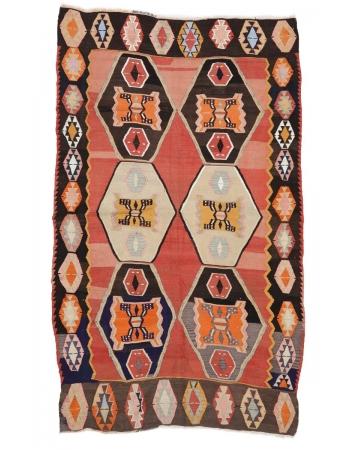 "Unique Vintage Turkish Kilim Rug - 5`11"" x 10`2"""