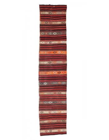 """Striped Vintage Turkish Kilim Runner - 2`9"""" x 13`1"""""""